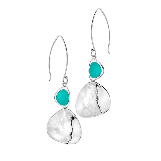 Large Rockpool earrings, Turquoise or Paua Shell