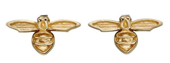 Stylised Bee Stud Earrings, 9ct Gold
