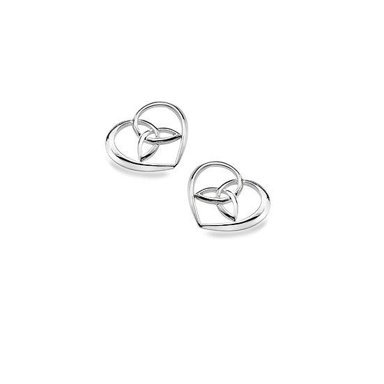 Celtic Trinity Heart Earrings, Studs or Drops