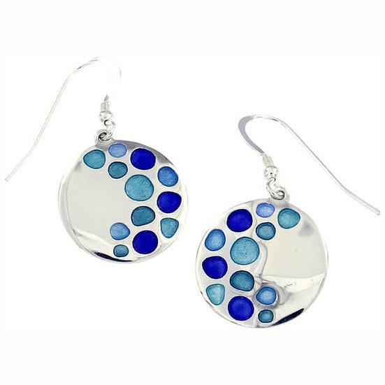 St Justin Glas Mor Bay enamelled drop earrings