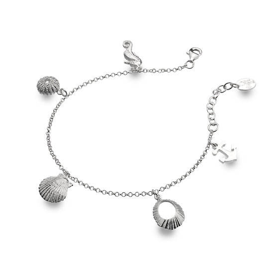 Seashore Silver Charm Bracelet with Seahorse, Anchor and Shells