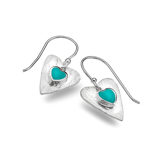 Textured Silver Heart earrings, Turquoise or Opalite