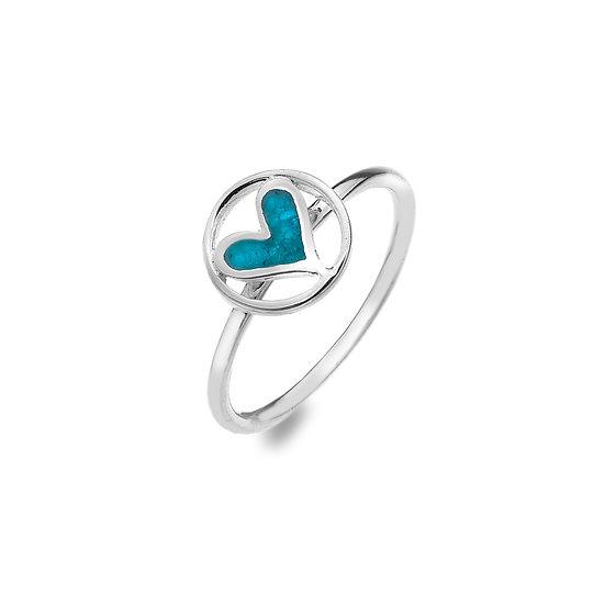 Eternal blue heart ring