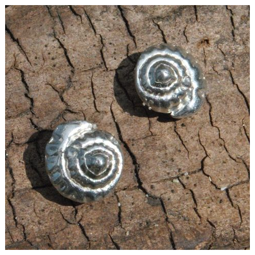 Spiral Shell Studs, pewter