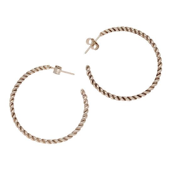 St Justin Silver twisted loop earrings