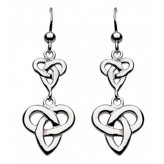 Celtic Silver Niamh Double Trio Knot Earrings