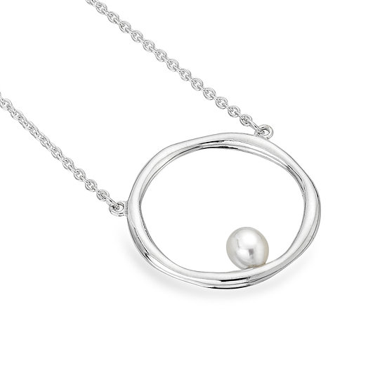 Organic Silver and Pearl Necklace