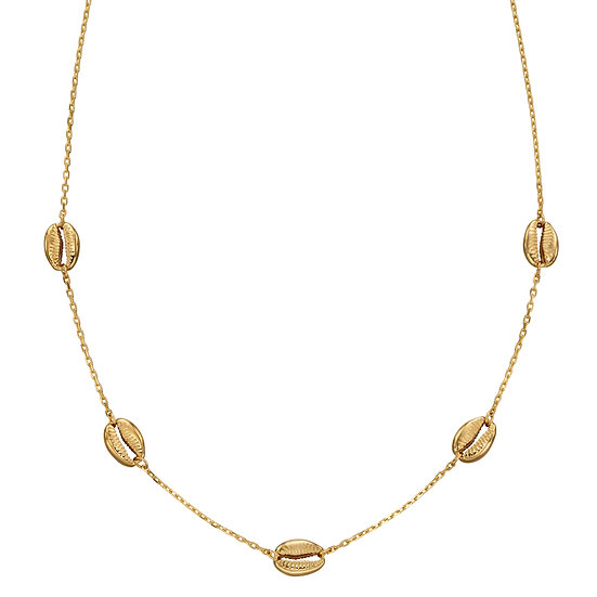 Cowrie Shell Station Necklace, 9ct Gold