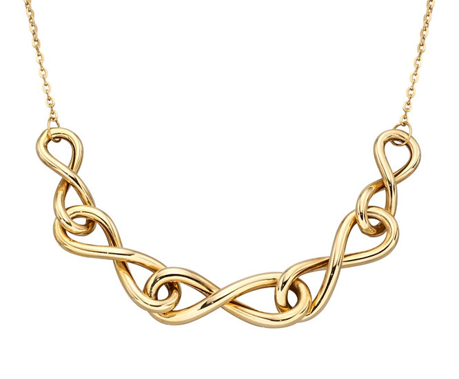Celtic Infinity Necklace, 9ct Gold
