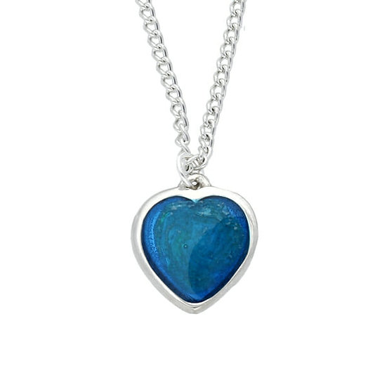 Blue Enamel Pewter Heart Pendant