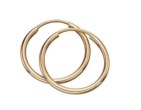 Yellow Gold Sleeper hoop earrings, 15mm or 20mm