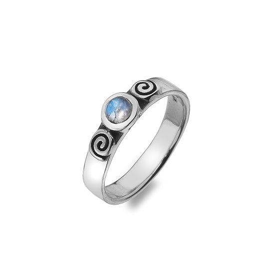 Spirals Ring with Moonstone or Blue Opalite