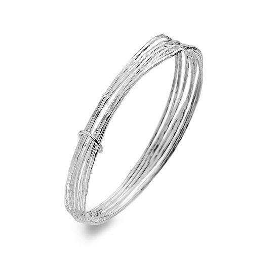 Willow Hammered Bangles with Ring