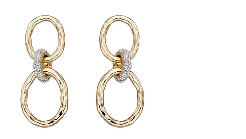Hammered Gold and Diamond Connector Earrings