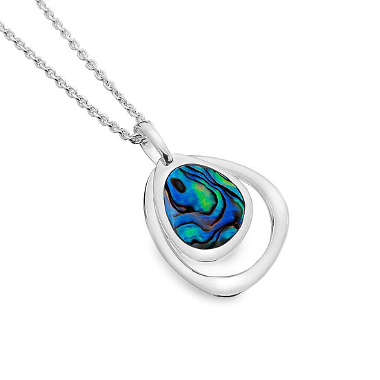 Pebble Pendant with Turquoise or Paua shell