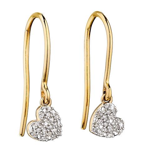 Diamond and Yellow Gold Swinging Heart Earrings
