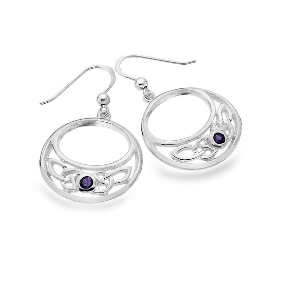 Celtic Trinity Circle Earrings with Gemstone