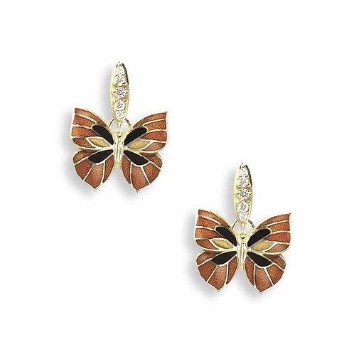 18 Carat Gold Orange Butterfly stud Earrings with Diamond bale
