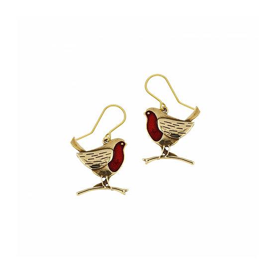 Robin drop earrings with red enamel, Bronze or Pewter