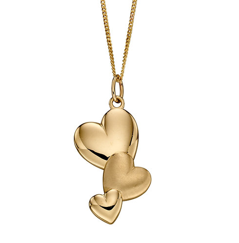 Brushed and Polished Texture Heart Pendant