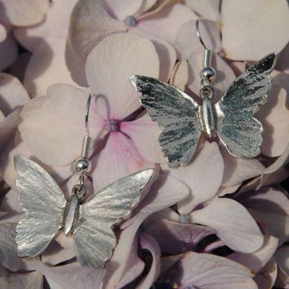 Butterfly Earrings, pewter