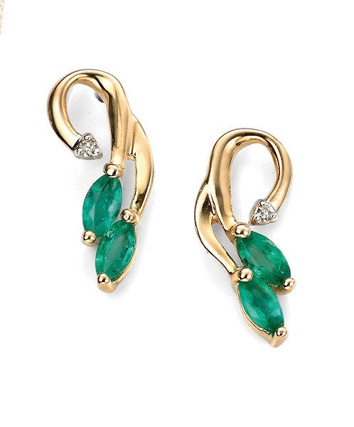 Emerald and Diamond Vine Earrings