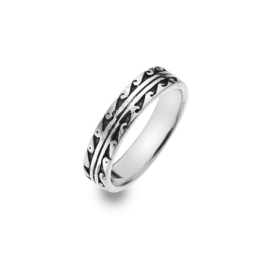 Double Breaking Waves Silver Ring