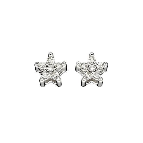 Tiny Diamond Star Stud Earrings