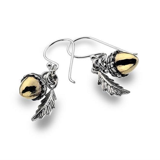 Acorn Earrings, Silver