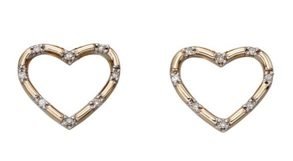 Diamond Heart Stud Earrings, 9ct Gold