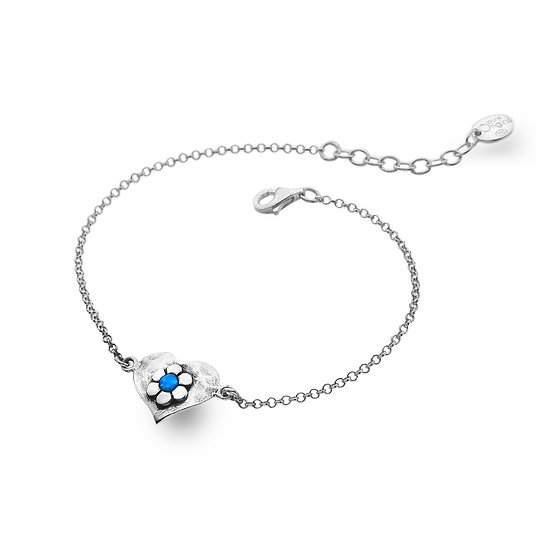 Silver Bracelet with Heart & Flower with Blue Opalite