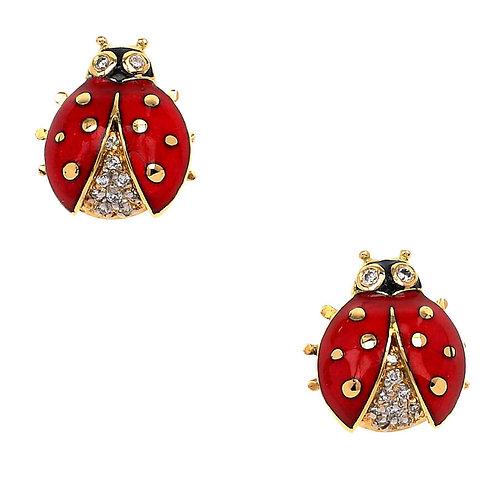 18 Carat Gold Red Cardinal Bird Wire Earrings
