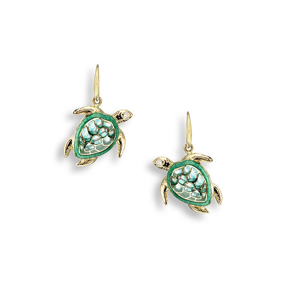 18 Carat Gold Turtle Wire Earrings, Diamonds.