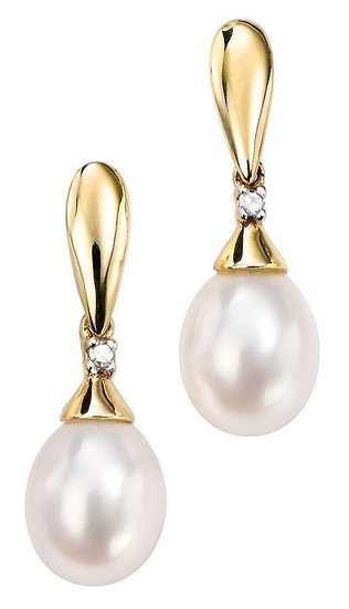 Pearl drop earrings with Diamond, 9ct Gold