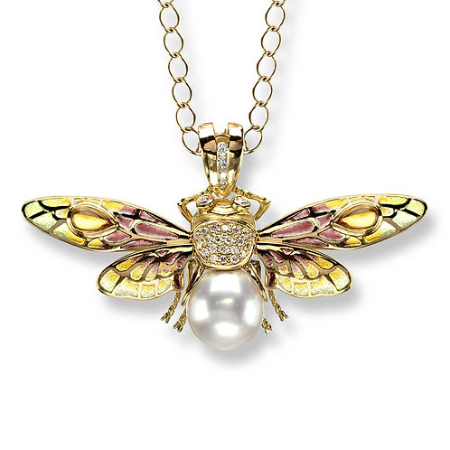 18 Carat Gold Pink Bee Pendant with Diamonds and Akoya Pearl
