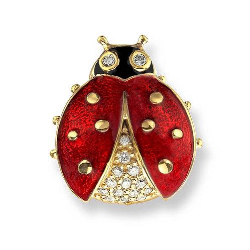 18 Carat Gold Red Ladybird Lapel Pin