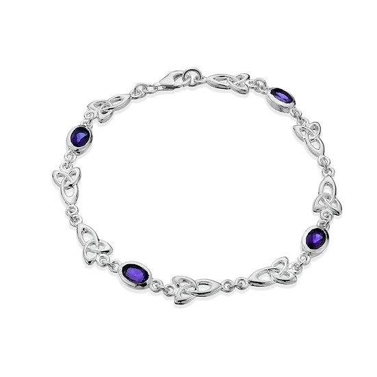 Celtic Trinity Knot Bracelet with Gemstones