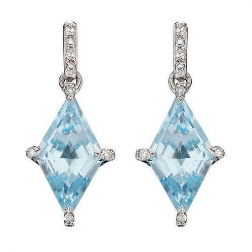 Kite Shape Blue Topaz Earrings in White Gold