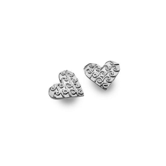 Heart with Waves Stud Earrings
