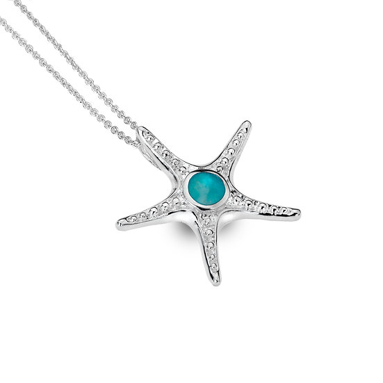 Silver Starfish Pendant with Turquoise