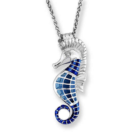 Sterling Silver Seahorse Necklace, White Sapphires & Freshwater Pearl