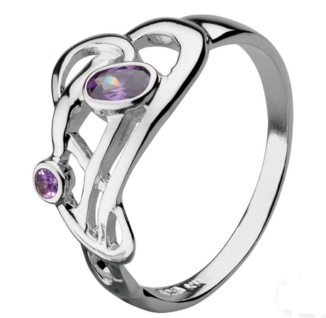 Celtic Silver Haether Flowing Knot Amethyst Ring