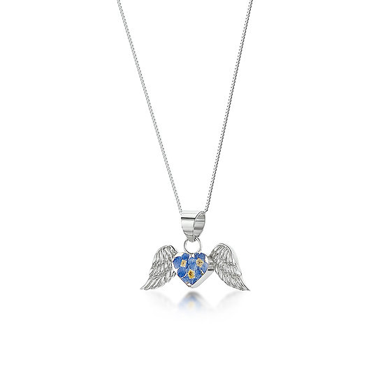 Angel Wings Necklace, Real Flowers