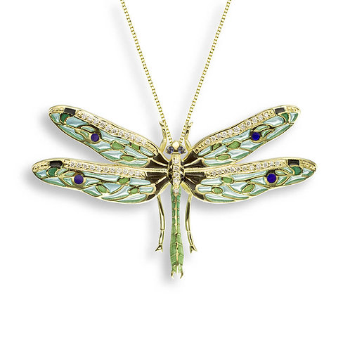 18 Carat Gold Dragonfly Necklace with Diamond & Blue Sapphire, in Yell