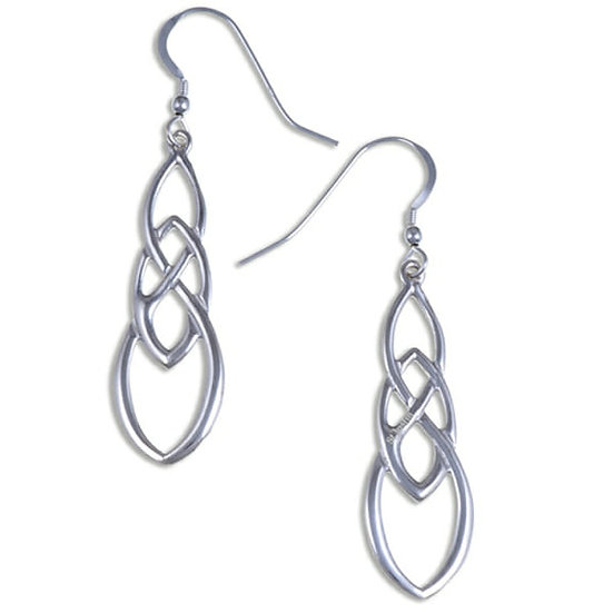 Linked Knot earrings, Silver