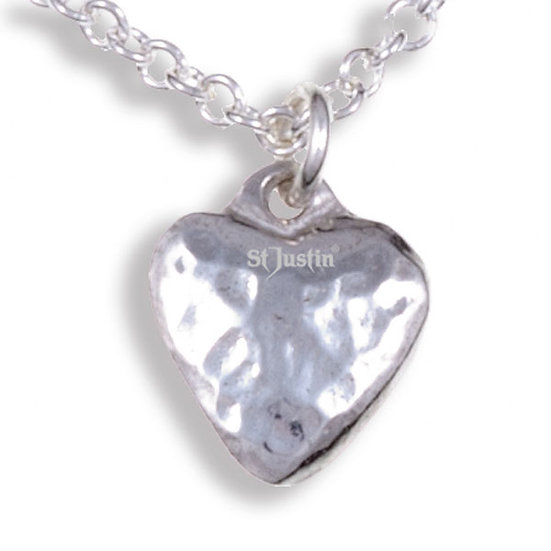 Small planished heart pendant, Tin