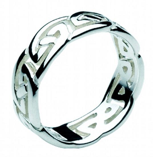 Celtic Silver Gwyneth Ring, Open Wavy Knotwork Band
