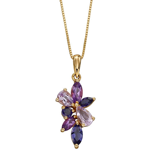 Amethyst and Iolite Floral Cluster Pendant