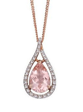 Morganite Tear Drop Pendant, 9ct Rose Gold