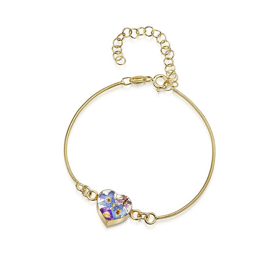 Real Flower Snake Chain Bracelet, Gold Plated